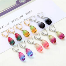 Exquisite Water Drop Colorful Gradient Zircon Dangle Earrings Wedding Jewelry