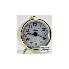 Despertador mecánico de metal color oro, Atlanta - aguja luminosas 1069/9 Nuevo
