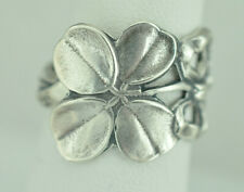 Beautiful 925 Sterling Silver Small Four-Leaf Clover Good Luck Flower Spoon Ring