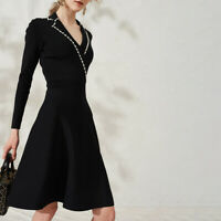 Sandro Faux Pearl Trim Suity Embellished Knit A-Line 3/4 Sleeves Wrap Dress $370