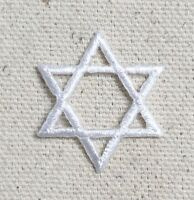 SMALL White - Star of David Hannukah Jewish Embroidered Patch/Iron on Applique