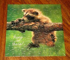 Vintage Springbok MINI HANG IN THERE Raccoon 70 Pcs Jigsaw Puzzle Hallmark