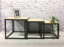 Metall Beistelltisch quadratisch schwarz - 3er Set - Sofatisch Wohnzimmer Tisch