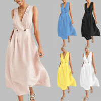 Fashion Women's V-Neck Solid Sleeveless Button Easy Beach Boho Casual Midi Dress