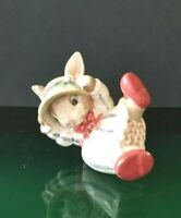 Vintage FF J Fitz & Floyd Blue Fashion Baby Bunny Rabbit Tumbling Figurine