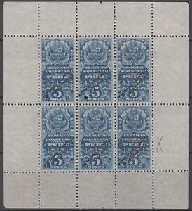 Specimen, Peru Revenues, Consular Service, Coat of Arms, Llama, Flags, Sheet 4