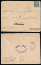 NEW CALEDONIA KOUAOUA 1905 to SEATTLE...CMF OVAL SHIP TURGOT...BLUE CANCEL