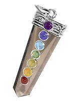 CHARGED Smokey Quartz 7 Chakra Crystal Gemstone Pendant Reiki Necklace HANDMADE