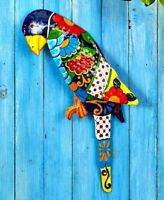 Colorful Tropical Parrot Metal Wall Art Hanging Sculpture Indoor/Outdoor Decor