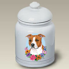 Tan and White Pit Bull Terrier Ceramic Treat Jar Tp 47093