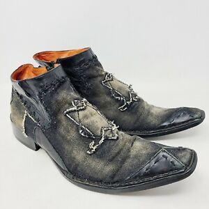 Robert Wayne (Morris) Ankle Boots Black Faded Demin Fabric Men's 7 M Western