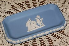 Wedgwood Jasperware - Cream on Light Blue - Oblong Trinket Tray or Pin Dish