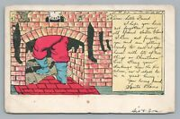 """""""Your Old Friend Santa Claus"""" CHIMNEY Stockings Christmas Brick—Elgin IL Cancel"""