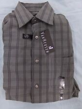 Men's 14 14 1/2 VanHeusen Gray Plaid Button Up Long Sleeve Shirt NEW