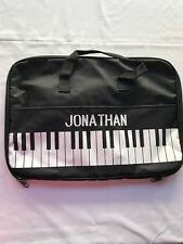 Lillian Vernon Piano Bag boy Jonathan black/white personalized NWT portfolio