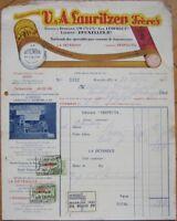 Lauritzen Belts/Bands- Bruxelles, Belgium 1936 Color Letterhead w/Revenue Stamps
