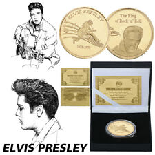 WR Elvis Presley 24K Gold Plated Coin The King of Rock N Roll In Gifts Box