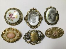 VICTORIAN STYLE PIN BROOCH LOT COSTUME JEWELRY ENAMEL CAMEO 1928 GERMANY