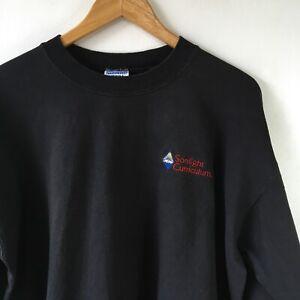 Retro 90s 00s Black USA Sweatshirt Sz Large Embroidered Logo Sonlight Curriculum