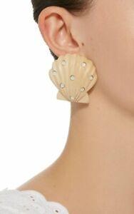 $275 NEW Rebecca De Ravenel Ariel White Wood & Opal Clip On Earrings ~ Fabulous!