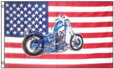 USA Patriotic Blue Motorcycle Polyester 3x5 Foot Flag Bike Chopper American US