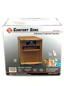 Comfort Zone CZ Portable Infrared Space Heater Oak Wood Cabinet