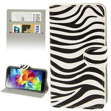 Flipcase Klapphülle Standfunktion Keditkartenfach Samsung Galaxy S5 Zebra Weiß