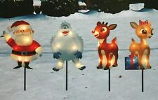 "NWT 4  LIT RUDOLPH Red Reindeer Santa CHRISTMAS Pathway LIGHTS 8"" DECORATIONS"