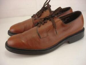 Mens 10 D M Allen Edmonds Leeds Dress Plain Toe Blucher Shoes Brown Leather 9558