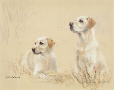 LABRADOR RETRIEVER YELLOW LAB DOG ART LIMITED EDITION PRINT - Brace in a Field