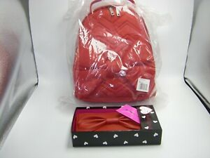 Betsey Johnson Large Bow Red Poly Backpack & PVC Large Bow Wallet 2 PC