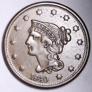 1840 Braided Hair Large Cent CHOICE AU+ FREE SHIPPING E102 TLA