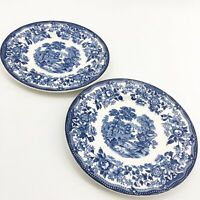 "2 VTG Royal Staffordshire England Clarice Cliff Tonquin Blue Dessert Plate 6.5"""