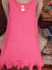 NWT FRESH PRODUCE SUNRISE STYLE V-NECK DRESS W / RUFFLE IN PINK NOMAD.....(L).