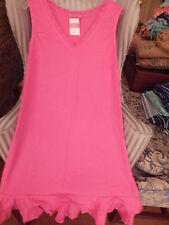 NWT FRESH PRODUCE SUNRISE STYLE V-NECK DRESS W / RUFFLE IN PINK NOMAD.....(XL).