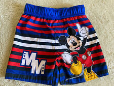 Disney Boys Mickey Mouse Blue Red White Striped Swim Trunks Shorts Bottoms 3T