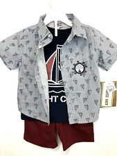 Nwt Little Rebels 3 Piece Boys Outfit Size 2T/ Yatch Club/ Red Shorts/ Blue top