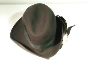 Vintage Felt Trilby Hat Feathered Good Used Condition Minor Wear