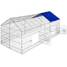 Rabbit enclosure run cage pet hutch outdoor playpen metal secure sunshade blue