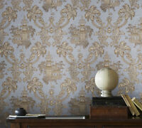 Wallpaper Oriental Scenic Asian pastel Gray Brass Gold Metallic textured floral
