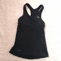 Nike Women's Black Shelf Bra Dri Fit Athletic Racerback Gym Tank Top Sz XS