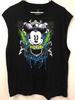 Disney Sleeveless T-shirt XL Hanes WDW Mickey Mouse Black Gothic Classic Orlando