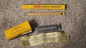 Vintage KODAK Thermometers Metal & Glass Tube Darkroom Original Box ~NOS~MINTY~