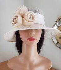 BHS-Cream satin swirls on brim down structured wedding hat