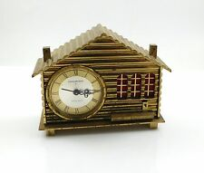 Vintage Swiss Chalet Alarm Clock 8 Days Remembrance Music Box Brass