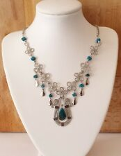 Chrysocolla and Alpaca Silver Necklace - Peruvian Boho Jewellery