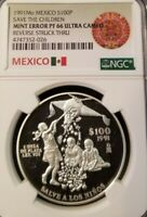 1991 MEXICO SILVER 100 PESOS SAVE THE CHILDREN NGC PF 66 ULTRA CAMEO MINT ERROR