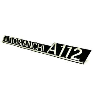 Autobianchi A112 Targhetta scritta fregio posteriore in alluminio anodizzato