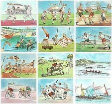 1960 OLIMPIADI DI ROMA set di 12 cartoline illustrate F. Zurli non viaggiate
