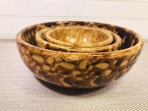Antique Vintage Brown Spongeware bowls Set of (3)